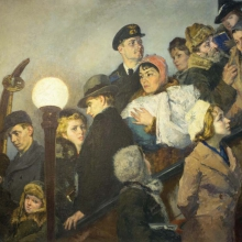 Shegal Grigory Mikhailovich (1889-1956) The escalator. The Moscow metro. 1941-1943. Oil on canvas, 135x164.