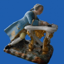A.G. Popov's factory    The gentleman Writing a Letter. 1830-1840-ies.      Porcelain,   overglaze painting  , gilding .  15x16x12,3  .