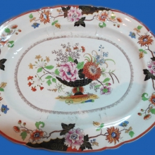 A.G. Popov's factory    Dish with   painted   flowers.   1850s  .   Faience p ottery ,  painting, gilding .  48,8x39x5  .