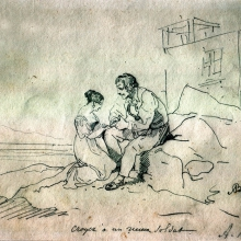 Briullov     Aleksandr Pavlovich   (1798-1877)    A man and a   woman .   Pencil on paper .  15x21,3  .