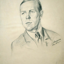 Nikulin Andrei Osipovich (1878-1945) Portrait of the Artist Chebotarev. 1936. Italian pencil on paper. 63,0х44,0.