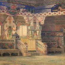Nikulin Andrei Osipovich (1878-1945) Sketch of theatrical scenery on the Old Russian themes. Mixed media on paper. 69,0х120,0