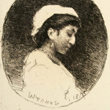 Repin Ilya   Efimovich   (1844-1930)     A woman   in a bonnet  .   1870    Etching  .   A  :   21,3h27,5 ;  And :  7,7h11,7 ;  D :  8,1h12  .
