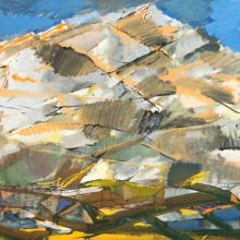 "Kalinin Viktor. ""Altai landscape"". 2007 tempera on Canvas. 100x120."